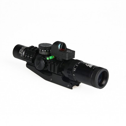Canis Latrans 1-4x24 IRF Rifle Scope + Red Dot Sight + Riflescope Bubble Level + 30mm Double Scope Mount PP1-0292 | PPT P.P.T