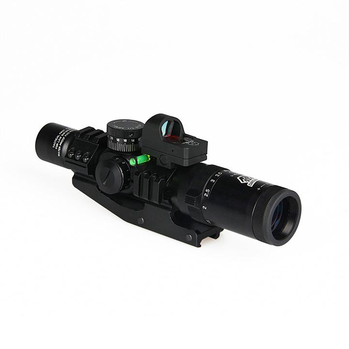 1-4x24 IRF Rifle Scope + Red Dot Sight + Riflescope Bubble Level + 30MM Double Scope Mount